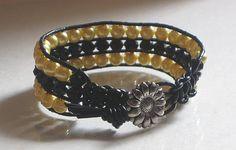 Leather Cuff Macrame triple row bracelet  by Lauralynnmichelle, $20.00