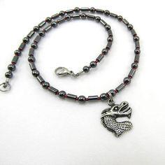 Boys Jewelry Dragon Charm Hematite Beaded Necklace for Kids Semi Precious Gemstones, Anklets, Making Ideas, Seed Beads, Handmade Jewelry, Beaded Necklace, Jewelry Making, Charmed, Bracelets