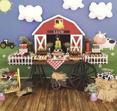 Inspiração no Tema Fazendinha! with ・・・ Amazing farm set up for our little Liam🐮🐷🐴🐤😍 fazendinha Farmer Birthday Party, Horse Birthday Parties, 2nd Birthday Party Themes, Cowboy Birthday, Kids Party Themes, Farm Animal Party, Farm Animal Birthday, Barnyard Party, Farm Party