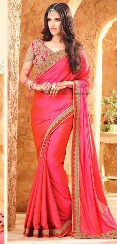 Aari Work Designer Saadi Pink Malay Silk Work Blouse BZ5380D81054