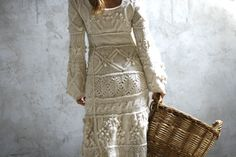 Off-white hand knit dress wedding dress - custom order. $600.00, via Etsy.