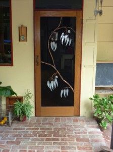 Fly wire door screen with galvanised iron and copper gum leaf design. - Old Soul Sticks And Stones, Galvanized Iron, Copper, Windows And Doors, Leaf Design, Copper Handles, Iron, Galvanized, Doors
