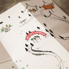 curious me designs wedding invite folded tight