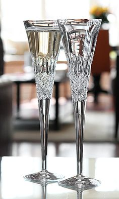 Waterford Monique Lhuillier Ellypse Flute Crystal Wine Glasses, Crystal Glassware, Waterford Crystal, Champagne Flutes, Toasting Flutes, Cut Glass, Glass Art, Vase, Crystal Collection