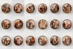 A set of eighteenremarkable buttons each featurea small painting of groups of people of mixed races in a British West Indies island, then calledDominica, now Haiti and Santo Domingo. The artist, subjects and traditional history all collide to make the buttonsan extraordinary combination of artistic significance, social history, and inventive design use. Look at all the details the artist included on this very small surface! Think of the idea that someone would choose to wear paintings…