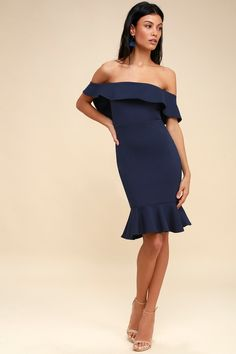 c99d9c336f Confidence Boost Navy Blue Off-the-Shoulder Bodycon Dress