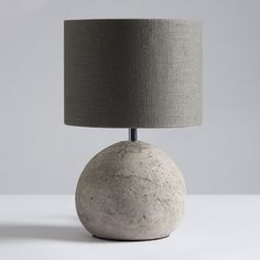Louella Concrete Table Lamp And Shade - bedroom
