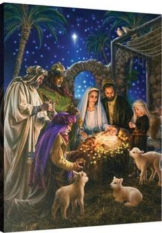 Nativity Scene of the birth of Baby Jesus in true meaning of Christmas Christmas Scenes, Noel Christmas, Vintage Christmas Cards, Christmas Pictures, Christmas Nativity Scene, Christmas Place, Christmas Garden, Merry Christmas Wishes, Family Christmas