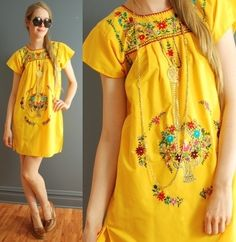 vtg mexican embroidered yellow dress, ebay-$9.99