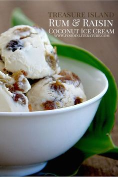 Nothing suits a pirate party more than a rum and raisin coconut ice cream. Dairy free as we use coconut milk instead, this has Caribbean written all over it. | Food in Literature