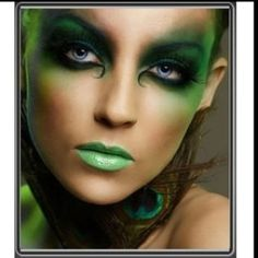 Great green costume makeup