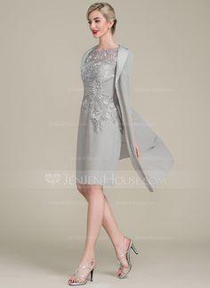 Sheath/Column Scoop Neck Knee-Length Chiffon Lace Mother of the Bride Dress With Ruffle Beading (008102677) - JenJenHouse