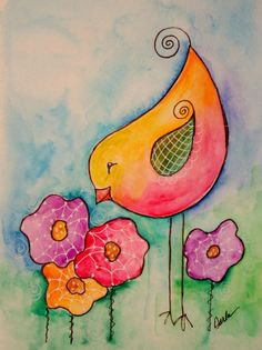 Bird and flowers ACEO by Darla Peterson.