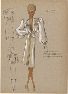 One of hundreds of thousands of free digital items from The New York Public Library. Fashion Design Drawings, Fashion Sketches, 1930s Fashion, Vintage Fashion, Fashion Illustration Vintage, Fashion Illustrations, Costume Design Sketch, Dress Sketches, Fashion Collage