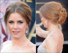 Amy Adams' long hair was rolled into into a messy chignon, a French term meaning nape of the neck.