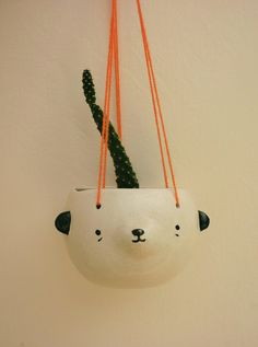 Hanging pot by mirubrugmann on Etsy Ceramic Clay, Ceramic Pottery, Cactus, Ceramic Design, Diy Clay, Clay Pots, Cacti And Succulents, Hanging Planters, House Colors