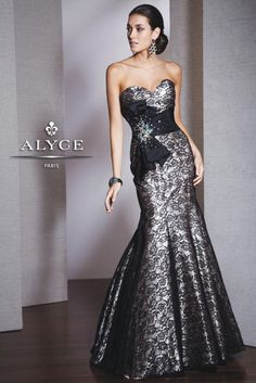 Shop NEW 2014 Alyce Paris 5526 black strapless mermaid prom dresses available now at RissyRoos.com..