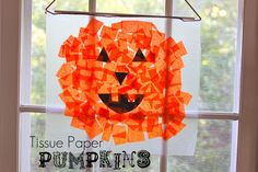 tissue paper pumpkins 2 pieces clear contact paper black construction paper eyes, nose, mouth lots of orangish tissue paper pieces for the kids to tear up wooden dowel, yarn