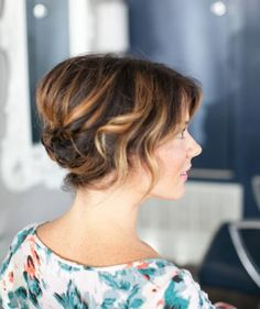 Just because have a short cut doesn't mean you can't don a glamorous updo on your wedding day. Separating the front half of your hair from the back before styling will help create the illusion of length. Then, twist and pin the back section before curling the front pieces away from the face.