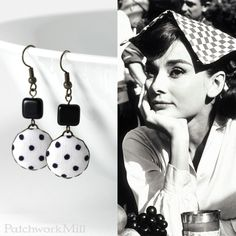 Love In The Afternoon Earrings, Romantic Black White Polka Dots Jewelry by PatchworkMill #black and #white #earrings #polka #dots #jewelry