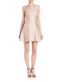 Alina Cutout Foil Fit & Flare Dress