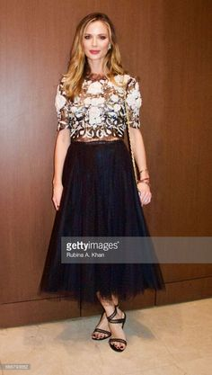 Georgina Chapman, co-founder and creative director of Marchesa fashion, at a dinner party hosted by filmmaker Mozez Singh during her trip to India as global brand ambassador for the youth NGO, Magic Bus USA, in Mumbai on April 8, 2017 in Mumbai, India.