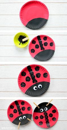 Easy paper plate ladybug craft for preschoolers and older kids. This easy spring. - - Easy paper plate ladybug craft for preschoolers and older kids. This easy spring craft is perfect for an insect and bug study unit in the classroom. Paper Plate Crafts For Kids, Easy Arts And Crafts, Spring Crafts For Kids, Crafts For Kids To Make, Projects For Kids, Fun Crafts, Art For Kids, Craft Projects, Craft Kids