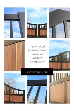 We are making modern ranch gates in aluminum. Faux-wood painted panels are lower maintenance and longer lasting. We hide the welds for a cleaner and sleeker look. No more rust runs either! Faux Wood Paint, Aluminium Gates, Iron Gate Design, Custom Gates, Texas Ranch, Modern Ranch, Driveway Gate, Entrance Gates, Modern Traditional