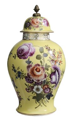 Dresden Hand-Painted Porcelain..Lidded Urn German, 20th century, hand-painted floral bouquets on canary yellow ground with brass pineapple finial, 13 in., excellent condition. Provenance: Property of a Tennessee Collector