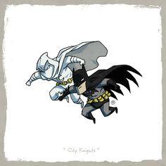 DC Marvel Equivalents Batman and Moon Knight SR Geek Picks: Captain America 3 vs. Batman V Superman, DC/Marvel Equivalents & Ms Marvel, Marvel Vs Dc Comics, Marvel And Dc Characters, Moon Knight, Dark Knight, Comic Books Art, Comic Art, Batman And Superman, The Villain
