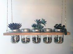 Horizontal Hanging Mason Jar Planter//Storage//Decoration