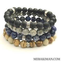 The MerakiMan collection is series of 10mm natural gemstones surrounded by traditional Greek Key Antiqued Silver Rondelles.  This set features Blue Sodalite,  Picture Jasper, Matte Black Onyx and Silver Crazy Lace Agate.  This collection is designed to be the basis to to any wrist wardrobe.  Bracel