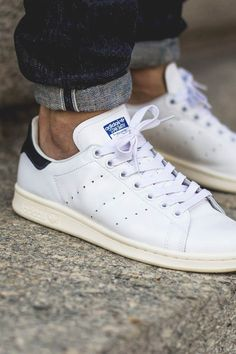 Adidas stan smith white and black detail shoes adidas fashion, mens fashion shoes, sneakers Adidas Fashion, Mens Fashion Shoes, Sneakers Fashion, Stan Smith Blancos, Adidas Stan Smith Outfit, Stan Smith White, Stan Smith Men, Denim Overall, Grunge Look