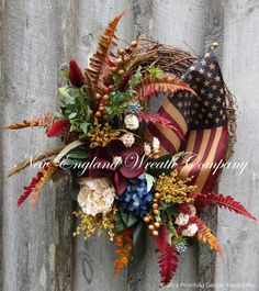 Victorian Heritage Wreath with Tea Stained Flag  ~A New England Wreath Company Original Design~