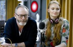 Sophie Turner and Liam Cunningham on Radio Deejay in Italy Game Of Thrones Sansa, Liam Cunningham, Sophie Turner, Davos, Sansa Stark, Valar Morghulis, Bomber Jacket, Actresses, Songs
