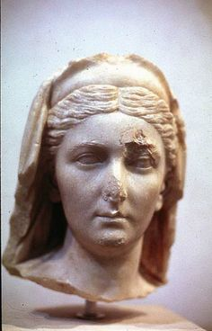 Veiled bust of Sabina, Rome, c. 136-138, marble. Traces of paint, black hair, brown eyes, garment purple. Her later hair style, Greek inspired. Drilled eyes to accentuate pupils. Possibly full length.