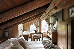 Ski Chalet Decor   ... Schlafzimmer Deckenbalken Design Alpen-Ski Chalet-des Fermes Chambre