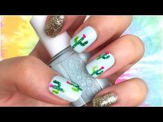 Cactus Print Nail Art! TUMBLR Nails + Coachella Festival Nail Art Ideas!!!   JennyClaireFox - YouTube