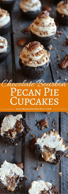 Chocolate Bourbon Pecan Pie Cupcakes with Butter Pecan Frosting | halfbakedharvest.com @hbharvest