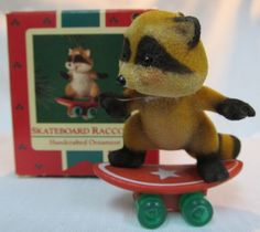 Hallmark SKATEBOARD RACCOON 1985 Keepsake Christmas Ornament - Wildlife Forest #Hallmark