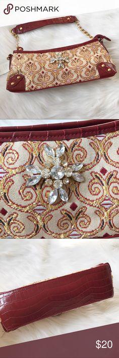 Rhinestone Embellished Handbag Cute handbag with a floral rhinestone embellishment and metallic gold embroidery. Brand new, never used! Apt. 9 Bags