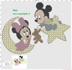 Baby Minnie and Mickey Mouse on the Moon and Star Minnie Y Mickey Mouse, Minnie Baby, Mickey Mouse And Friends, Cross Stitch Family, Cross Stitch Baby, Stitch Disney, Disney Cross Stitch Patterns, Cross Stitch Boards, Bobble Stitch