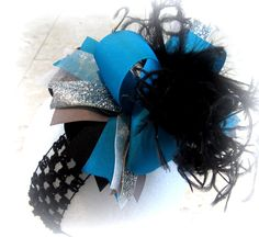 Turquoise Silver Black Over the Top by MyBellaBellaBowtique, $16.95