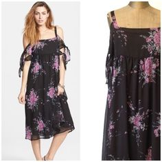 Free people tied to you midnight floral dress XS -WELCOME to my addiction :-)-  I always have NEW items posted frequently so please keep checking back :-)!  BUNDLES are more than welcome and encouraged to save you shipping!  Please refer to description and photos to see fit.   BRAND: Free people SIZE: XS COLOR: multi colored. Floral  CONDITION: NWT   BUST: 16 WAIST:15 SLEEVE LENGTH 6:  LENGTH:46   Other details: ties at arms, very flirty look. Purple floral with black. Lined. Open shoulders…