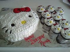 Hello kitty cake and cupcakes