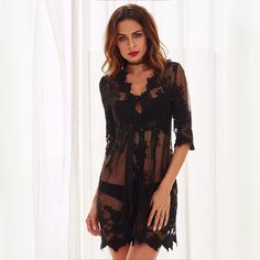 Black Lace Deep V Neck See-through Dress  Rs. 2849  #lace #seethrough #hot #dress #newarrivals #shopnow #Zooomberg