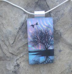 Sunset Reflection Tree Necklace Dichroic Fused Glass Tree Pendant