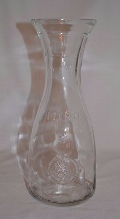 Vintage Italian 1 Liter Litro Wine Water Clear Glass Carafe Decanter Italy