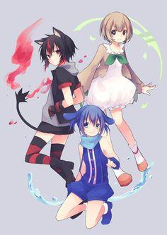 Pokemon sun and moon starters. Rowlet, Popplio, and Litten Gijinka