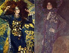"The Look: Richard Burbridge reinterprets Klimt's ""Portrait of Emiliy Flöge"" (1902) for Vogue September 2005"